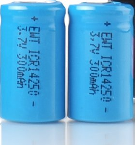 Two rechargeable Li-Ion 14250 batteries suitable for approximately 300 recordings each