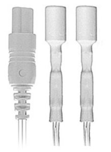 """18"""" (45 cm) Dual 1 mm (keyhole) connector to two shrouded male 1.5 mm touchproof connectors"""